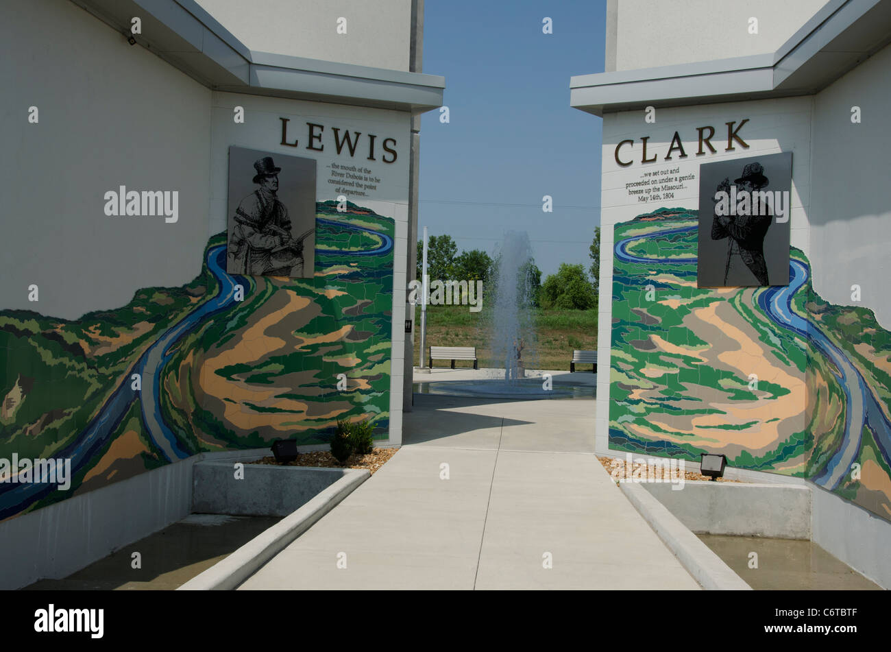 Entrance to the Lewis and Clark Confluence Tower near to Hartford, Illinois - Stock Image