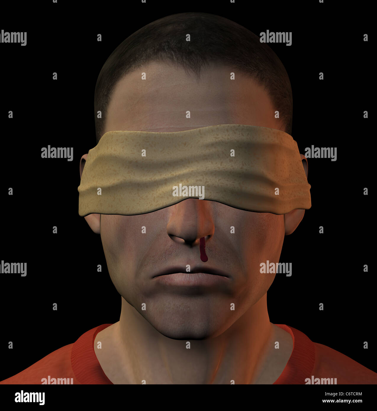 Tortured blindfolded man with bleeding nose. 3d illustration. - Stock Image