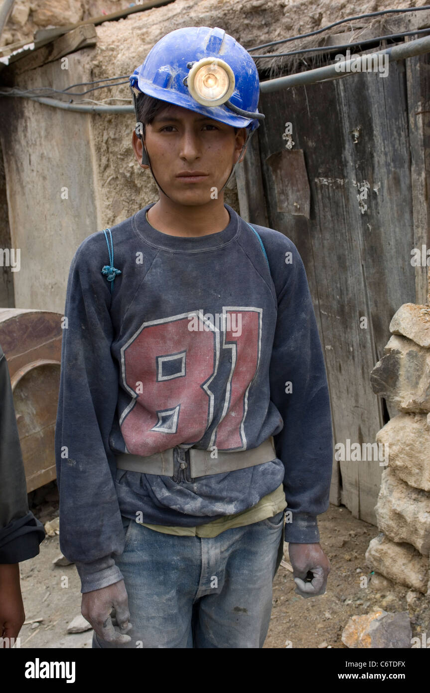 Santos is only 14 years old but he has already been working for 2 years down the Cerro Rico silver mine at Potosi, - Stock Image