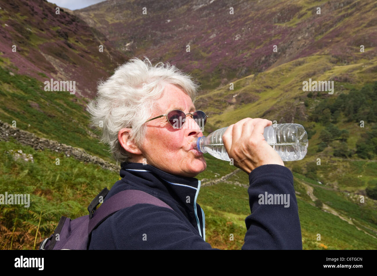 Thirsty active senior woman walker drinking bottled water from a plastic bottle whilst out hiking outdoors in mountains - Stock Image
