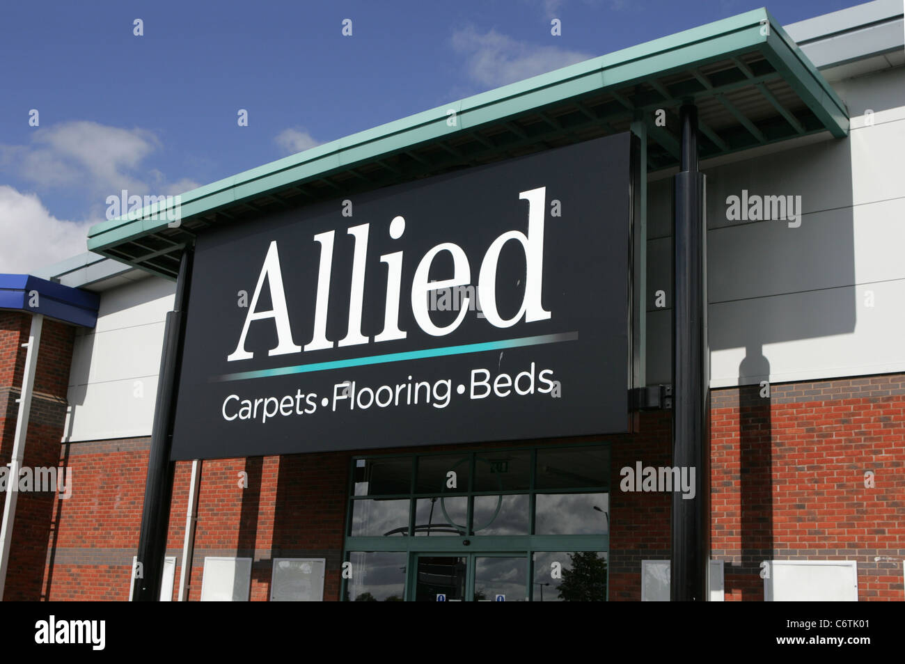 Allied Carpets Floors Beds Front Worcester Uk Stock Image