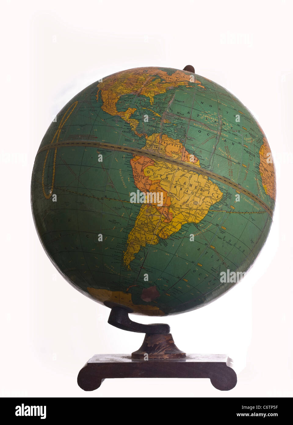 an ancient globe with white background - Stock Image