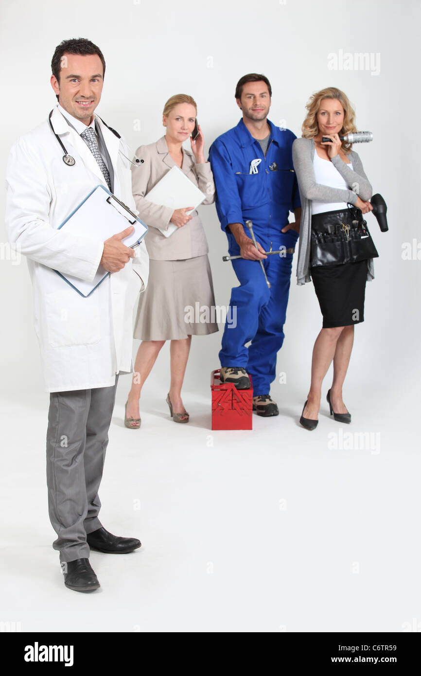 Doctor with stethoscope and clipboard, mechanic, doctor and secretary. - Stock Image