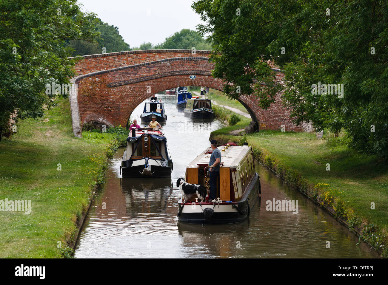 The Oxford Canal near Braunston, Northamptonshire - Stock Image
