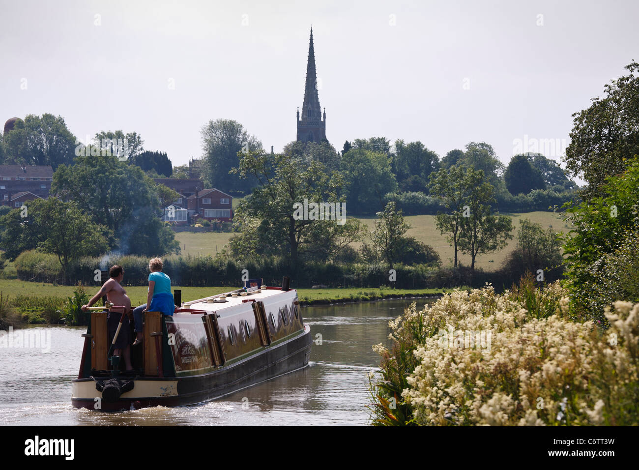 Narrowboat heading towards Braunston on the Oxford Canal, Northamptonshire - Stock Image