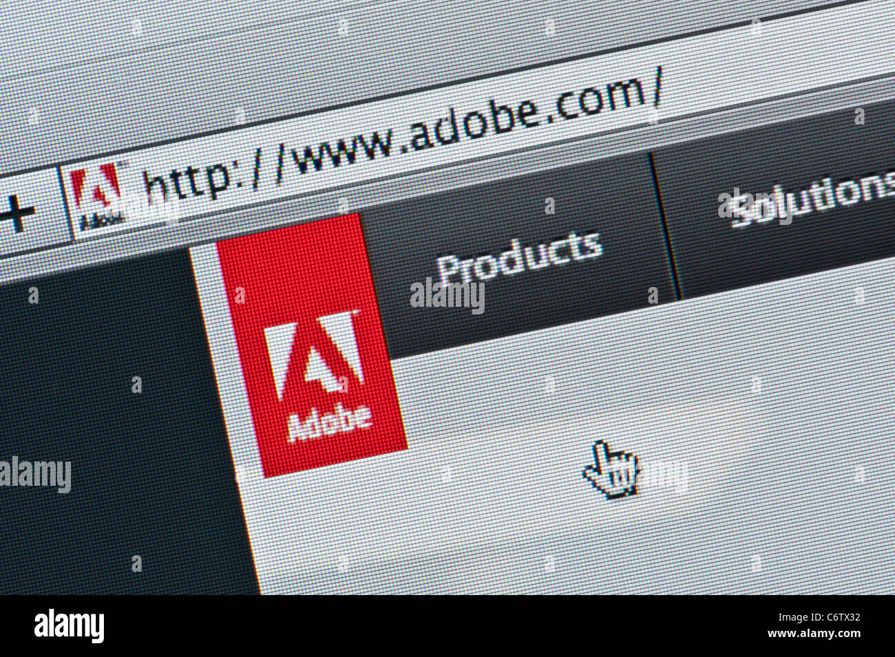 Close up of the Adobe logo as seen on its website. (Editorial use only: print, TV, e-book and editorial website). - Stock Image