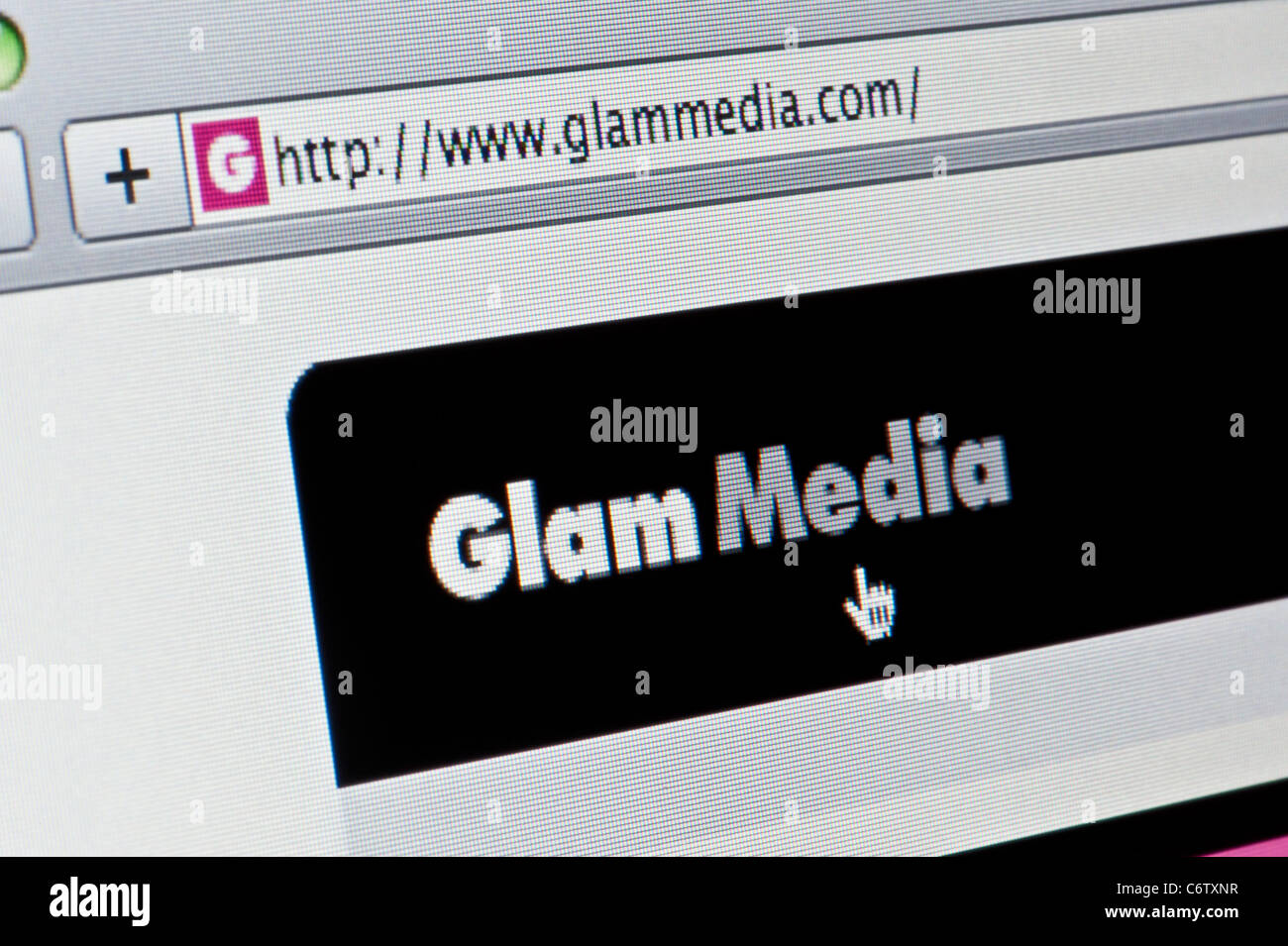 Close up of the Glam Media logo as seen on its website. (Editorial use only: print, TV, e-book and editorial - Stock Image