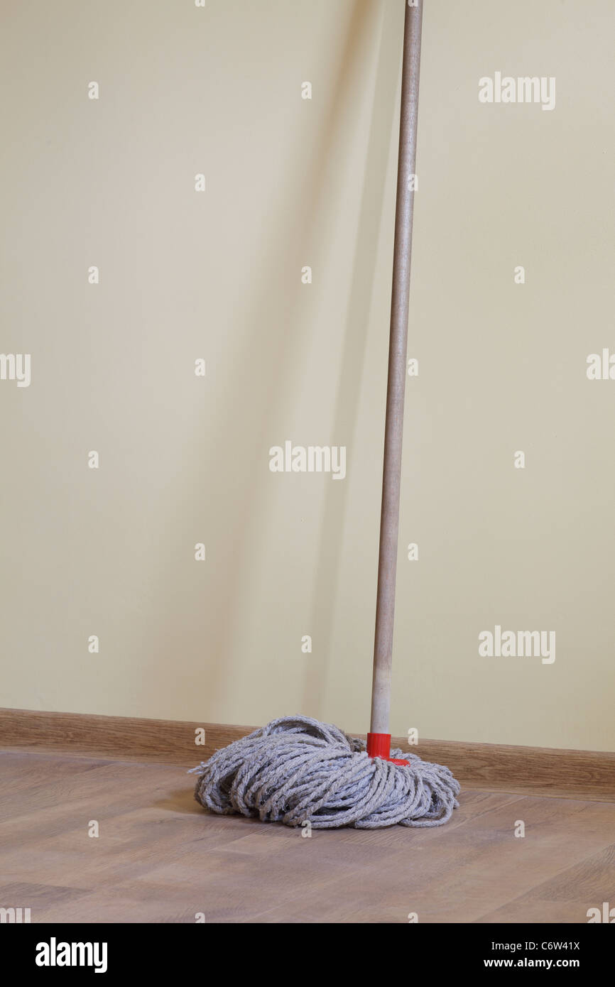 Mop in the room plank flooring Stock Photo