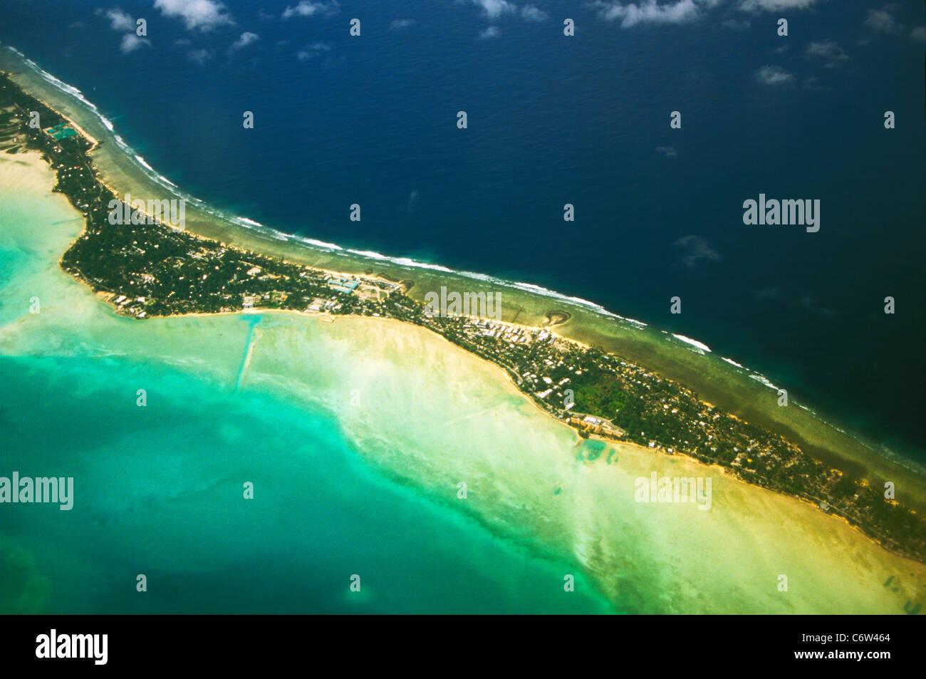 Aerial view of Tarawa Atoll, Republic of Kiribati, central Pacific - Stock Image