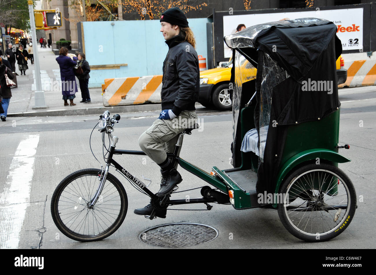 Tricycle taxi- pedicab in New York City, Manhattan - Stock Image