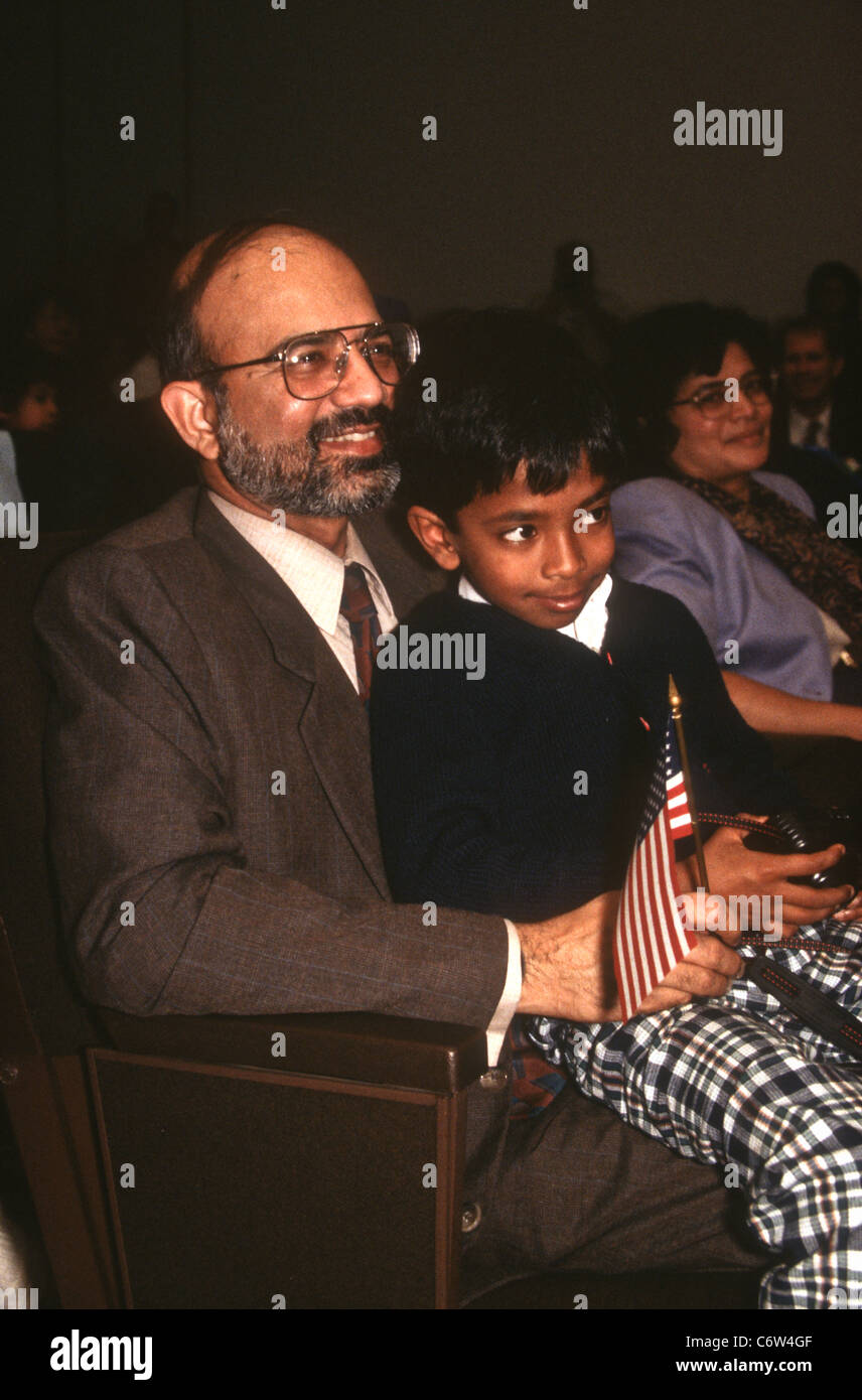 A immigrant family at their naturalization ceremony November 12, 1996 in Washington, DC. - Stock Image