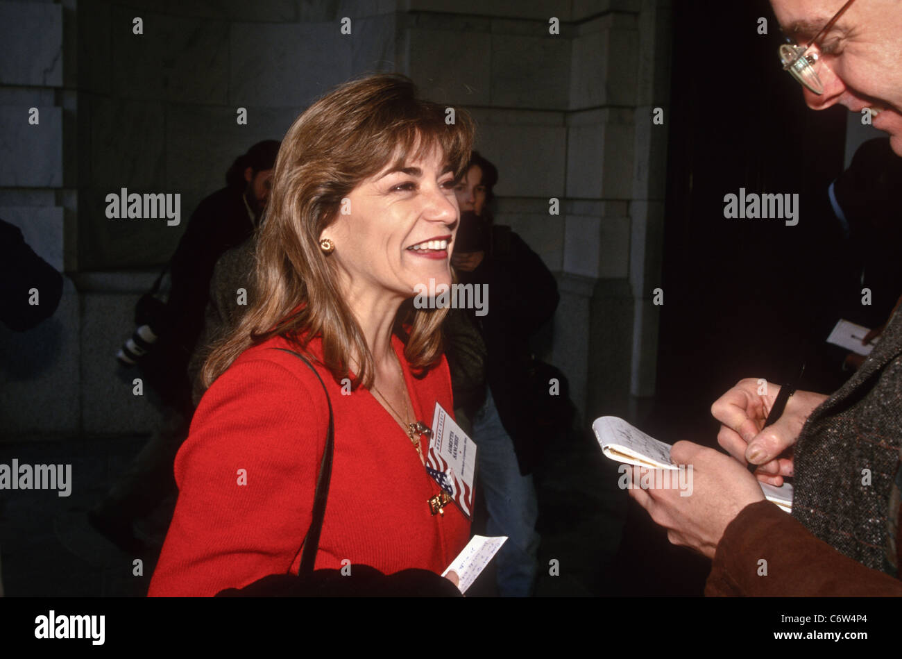 Freshman Congressional Representative Loretta Sanchez speaks to the media November 15, 1996 In Washington DC. - Stock Image