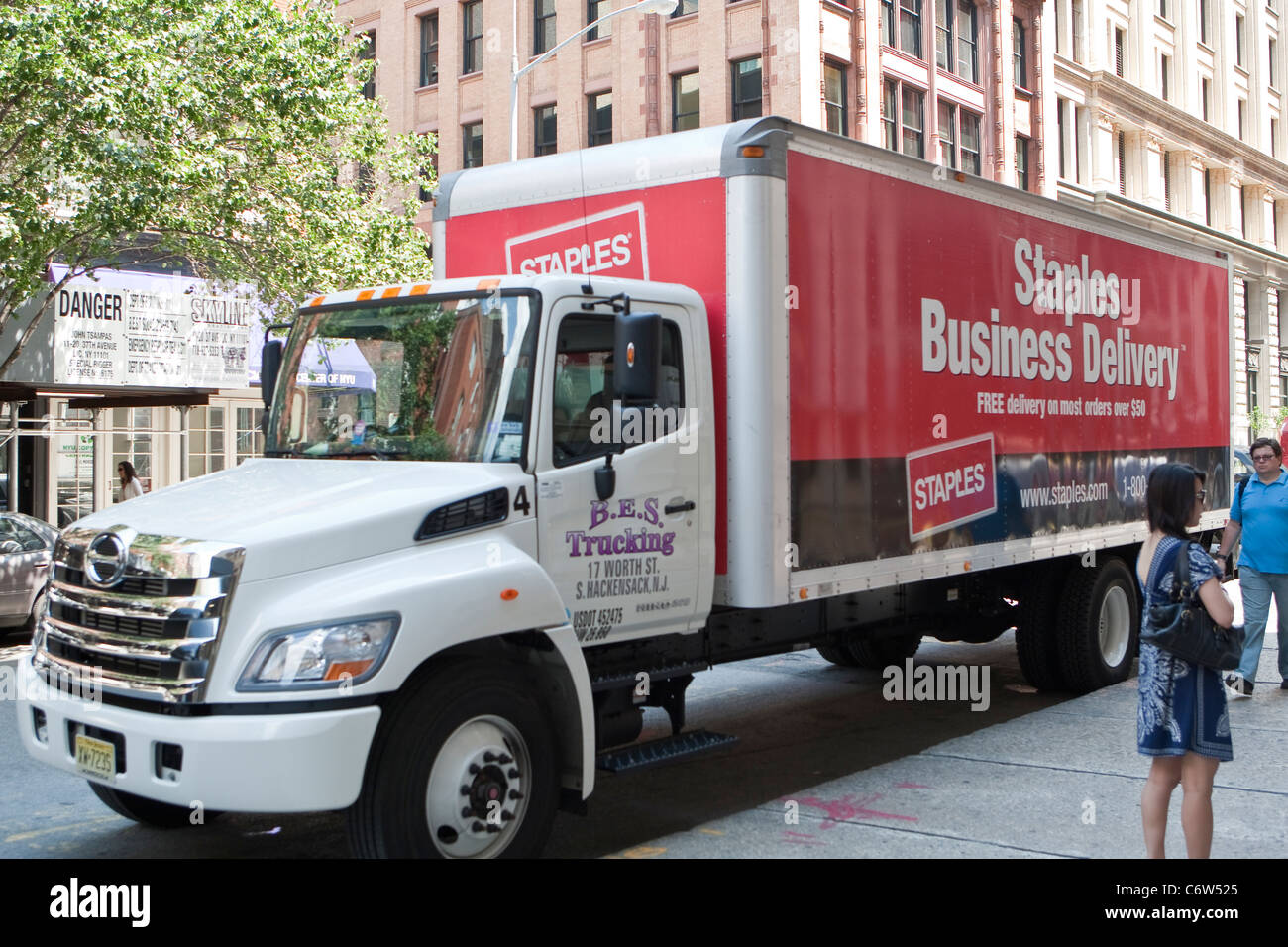 A Staples delivery truck is pictured in New York City, NY Thursday August 4, 2011. - Stock Image