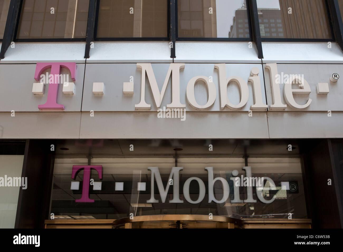 T Mobile Store Manhattan New York High Resolution Stock
