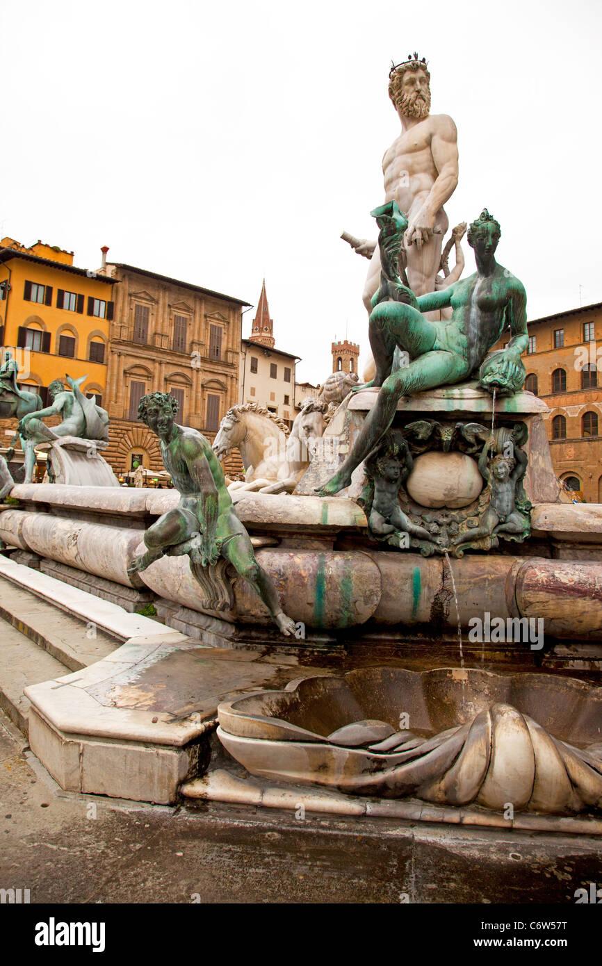 The Fontana di Nettuno (Neptune Fountain) in Piazza della Signoria in Florence Italy. - Stock Image