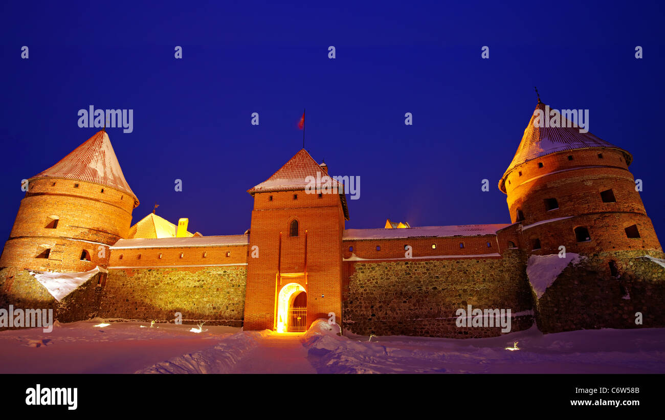 Trakai Island Castle in the night in winter. Stock Photo