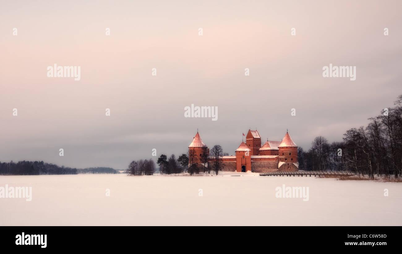 Trakai Island Castle at sunset in winter. Stock Photo