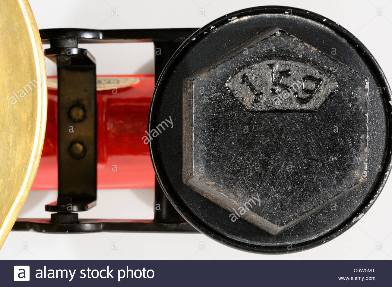 One kg Weight on kitchen scales, England - Stock Image