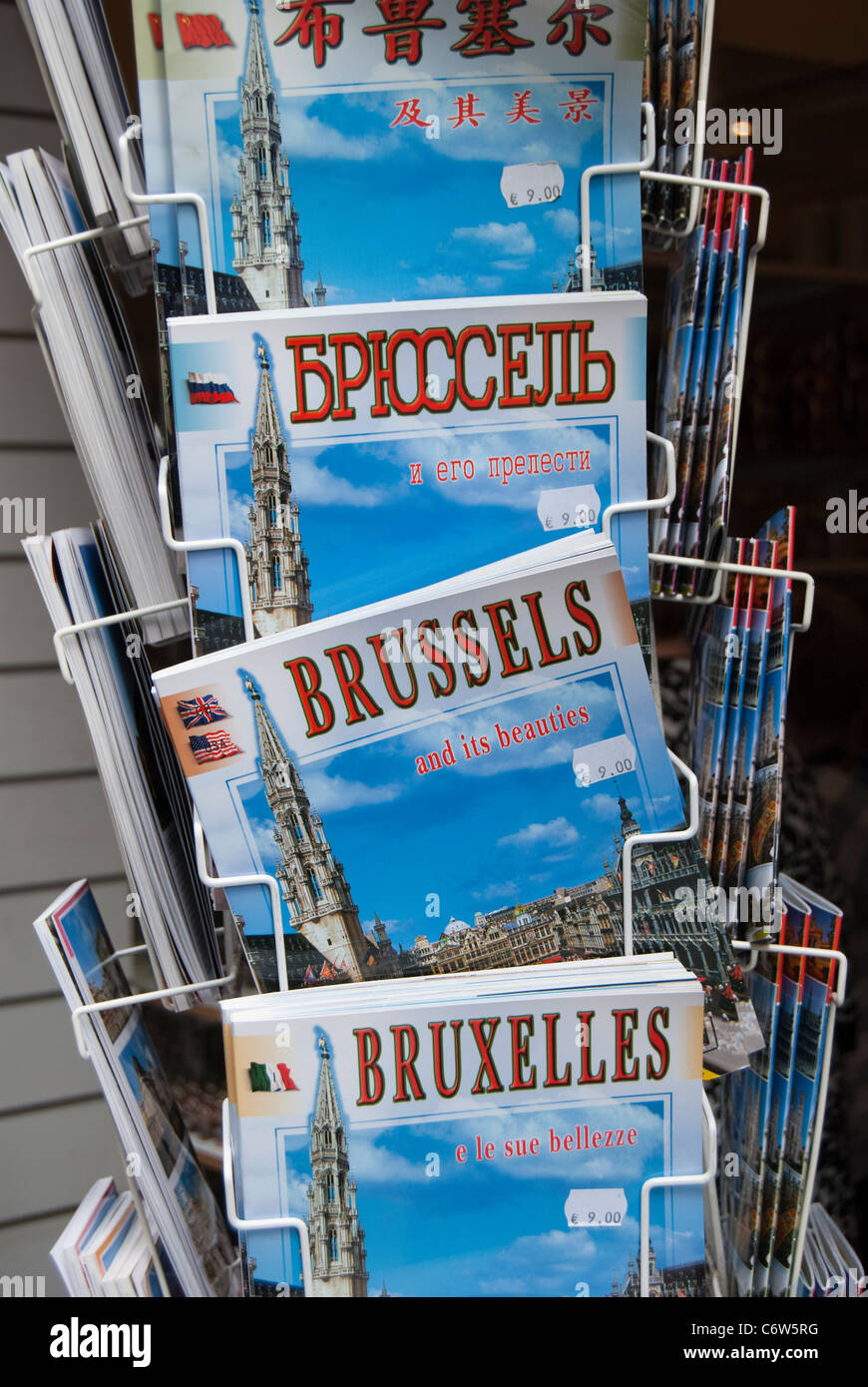 Display of Guide Books to Brussels in different languages - Stock Image