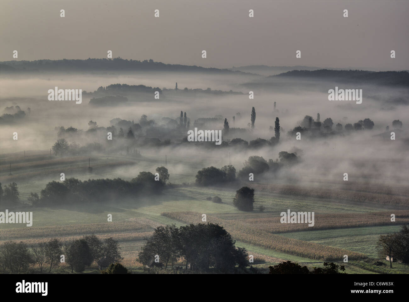 Morning fog and haze in the valley - sleepy hollow - Stock Image