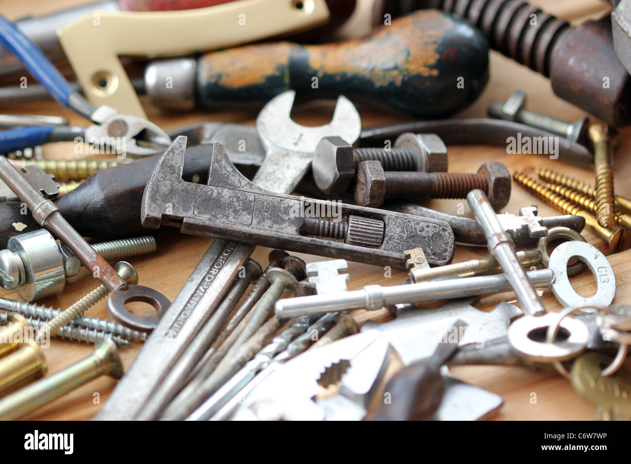 nuts bolts and spanners Stock Photo