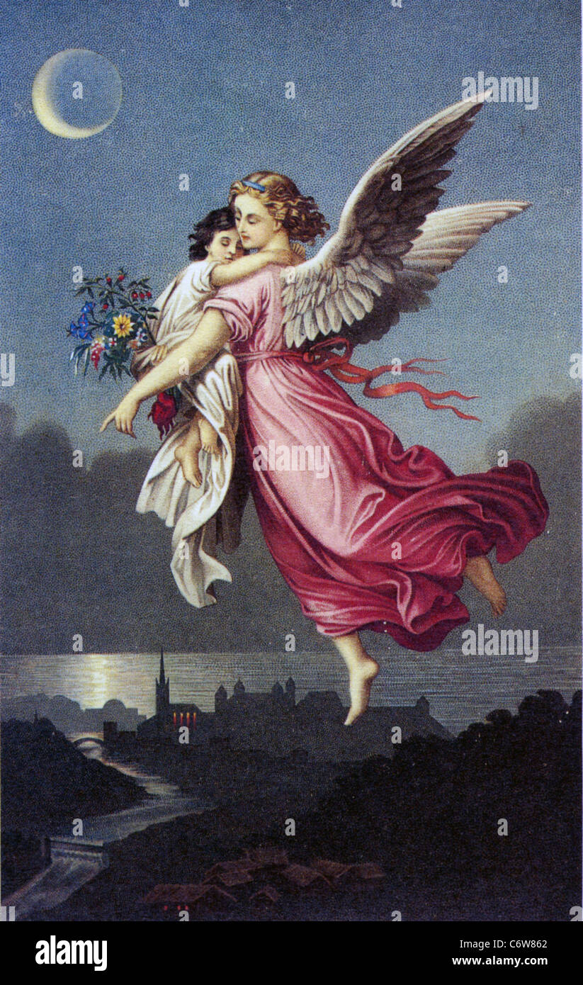 Guardian Angel With Child In A Victorian Illustration Stock Photo