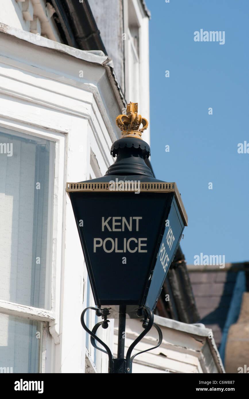 Kent Police Blue Lamp Outside A Police Station UK - Stock Image