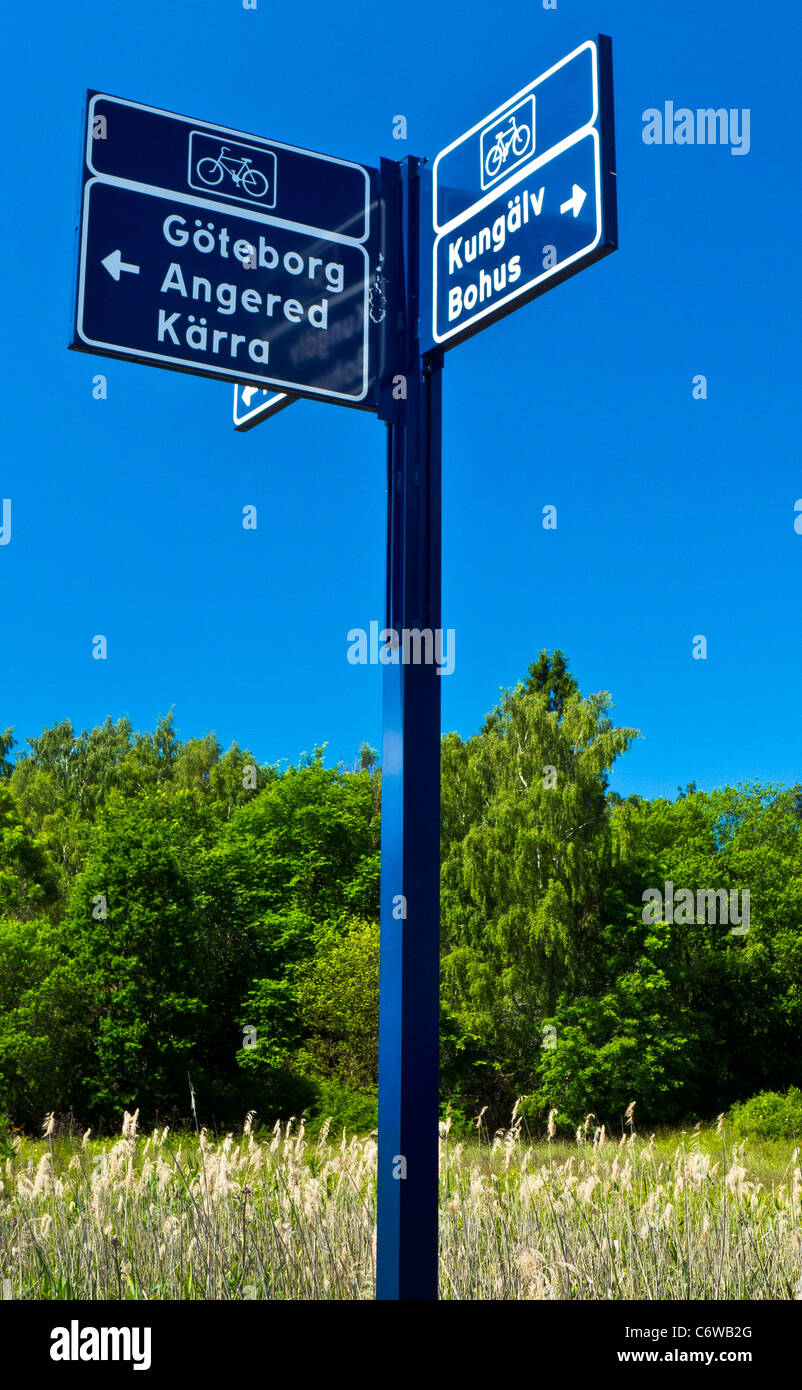 Cycle path signs, Göteborg, Sweden - Stock Image