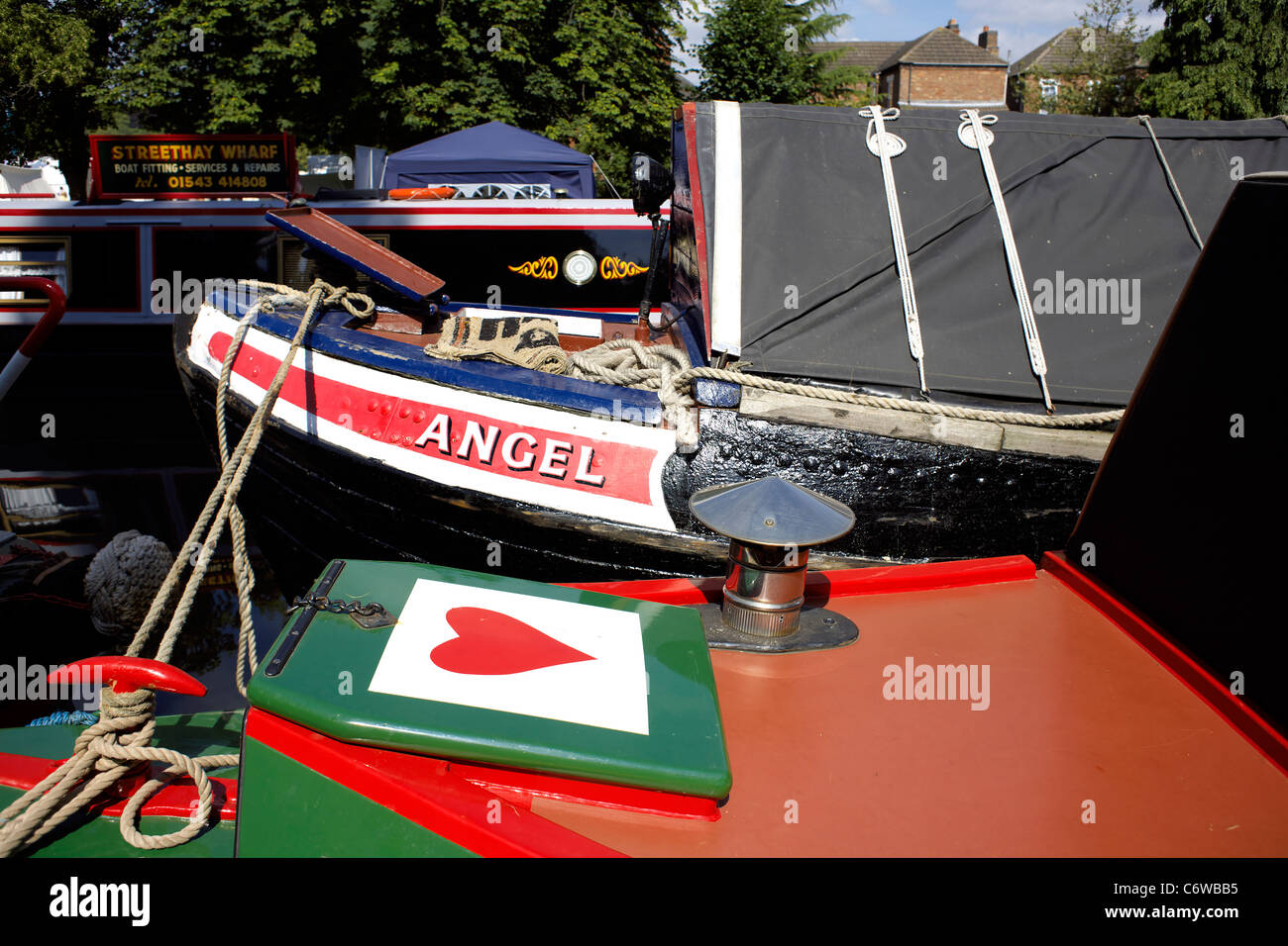 Traditional working butty, Angle, moored on the Trent and Mersey Canal during the 2011 Inland Waterways Festival - Stock Image
