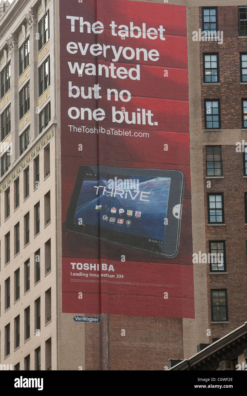 Advertising billboard for Toshiba Thrive tablet in the New York City borough of Manhattan, NY, Thursday August 4, - Stock Image