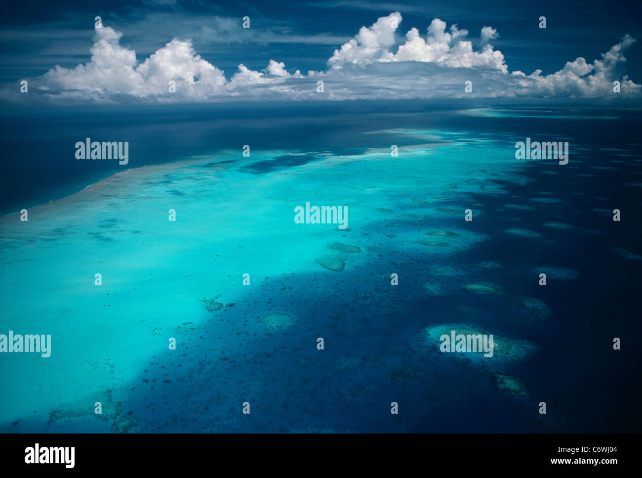 Fringing Coral Reef. Palau Islands, Micronesia, Pacific Ocean Stock Photo