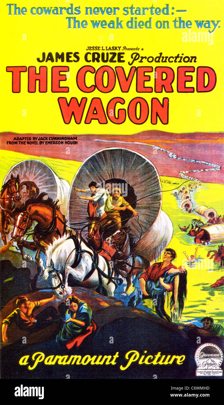THE COVERED WAGON later issue poster for 1923 Paramount film with J Warren Kerrigan and Lois Wilson - Stock Image