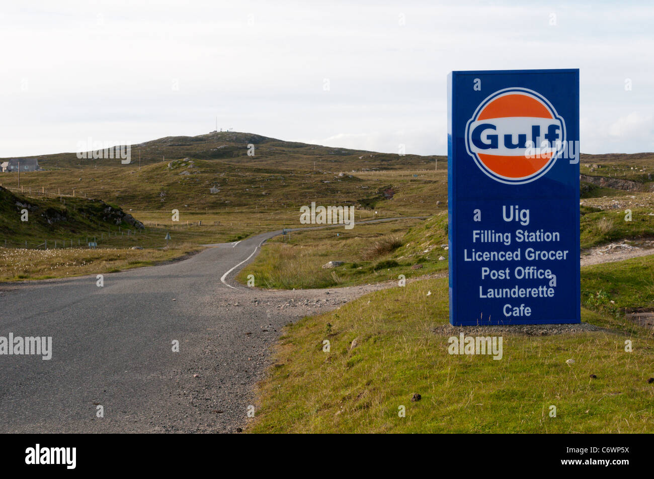 Sign for Uig Gulf filling station at Timsgearraidh on the Isle of Lewis, Outer Hebrides, Scotland - Stock Image