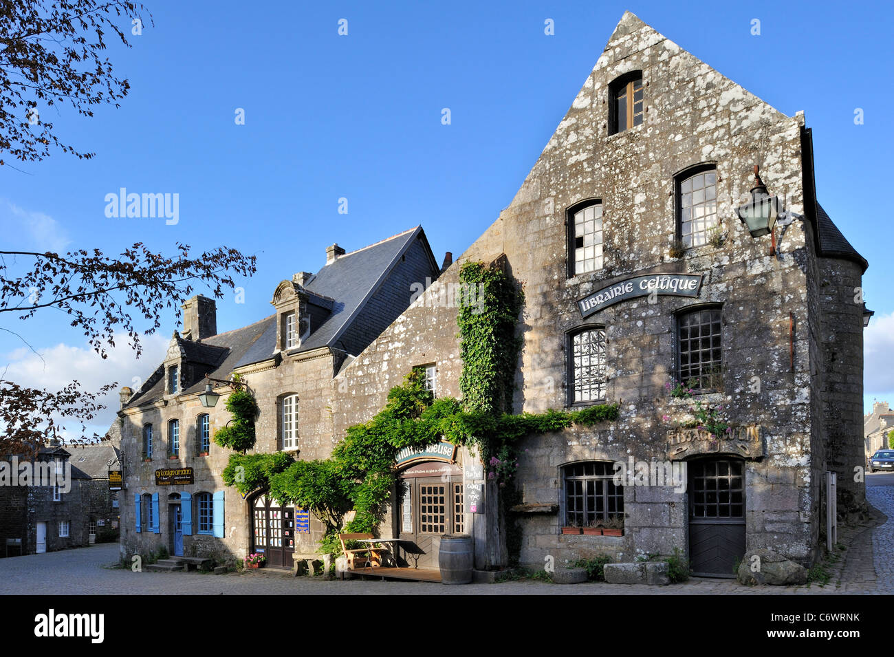 Medieval houses in the picturesque village Locronan, Finistère, Brittany, France - Stock Image