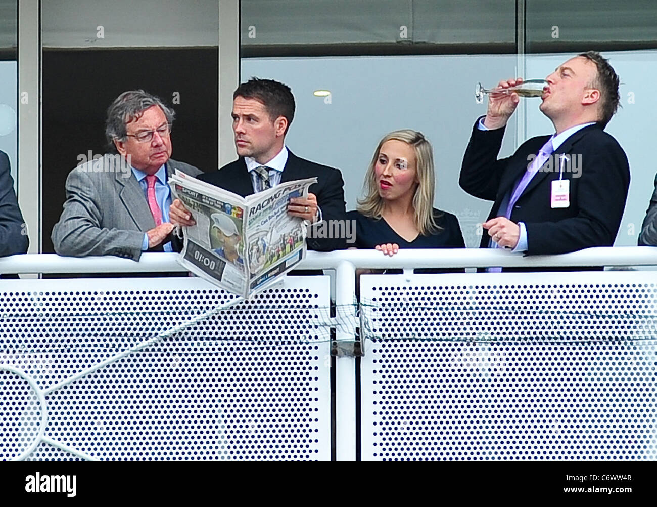 Michael Owen watching the horse racing on ladies day at Chester Races Chester, England - 05.05.10 - Stock Image