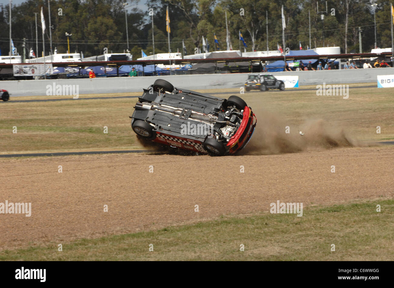 Spectators at the Ipswich 300 V8 Supercar race at Willowbank,.Queensland, Australia, were stunned to witness driver - Stock Image