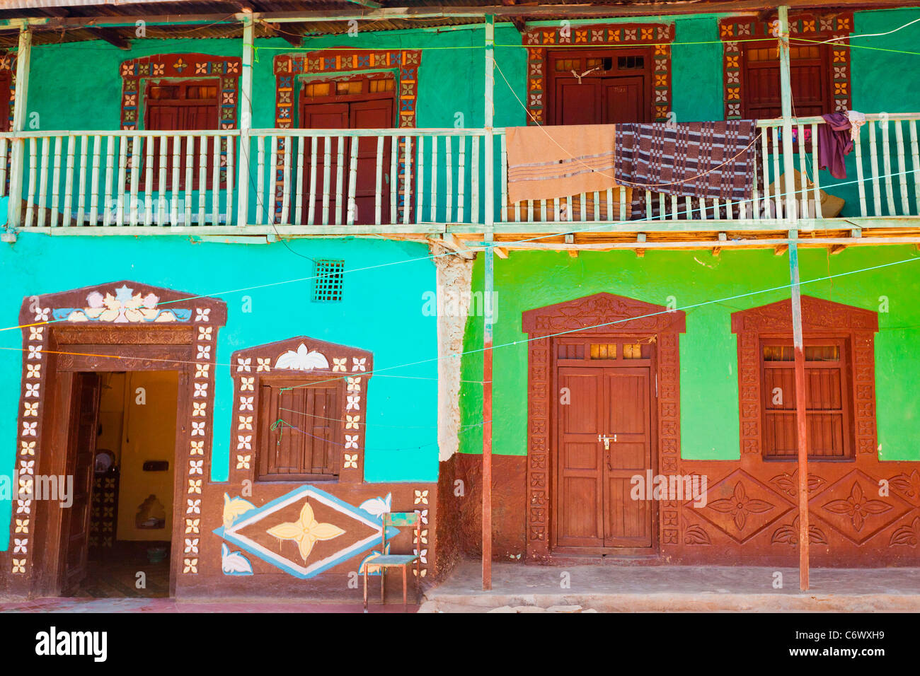 Colourful facade of Sheikh Abadir,s Tomb in the walled city of Harar in Eastern Ethiopia, Africa. - Stock Image