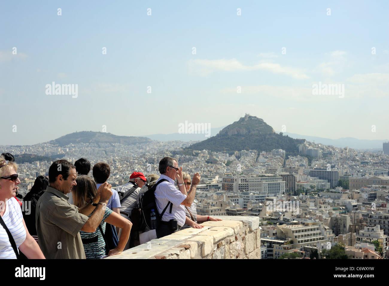 Athens Greece european tourists in Acropolis - Stock Image