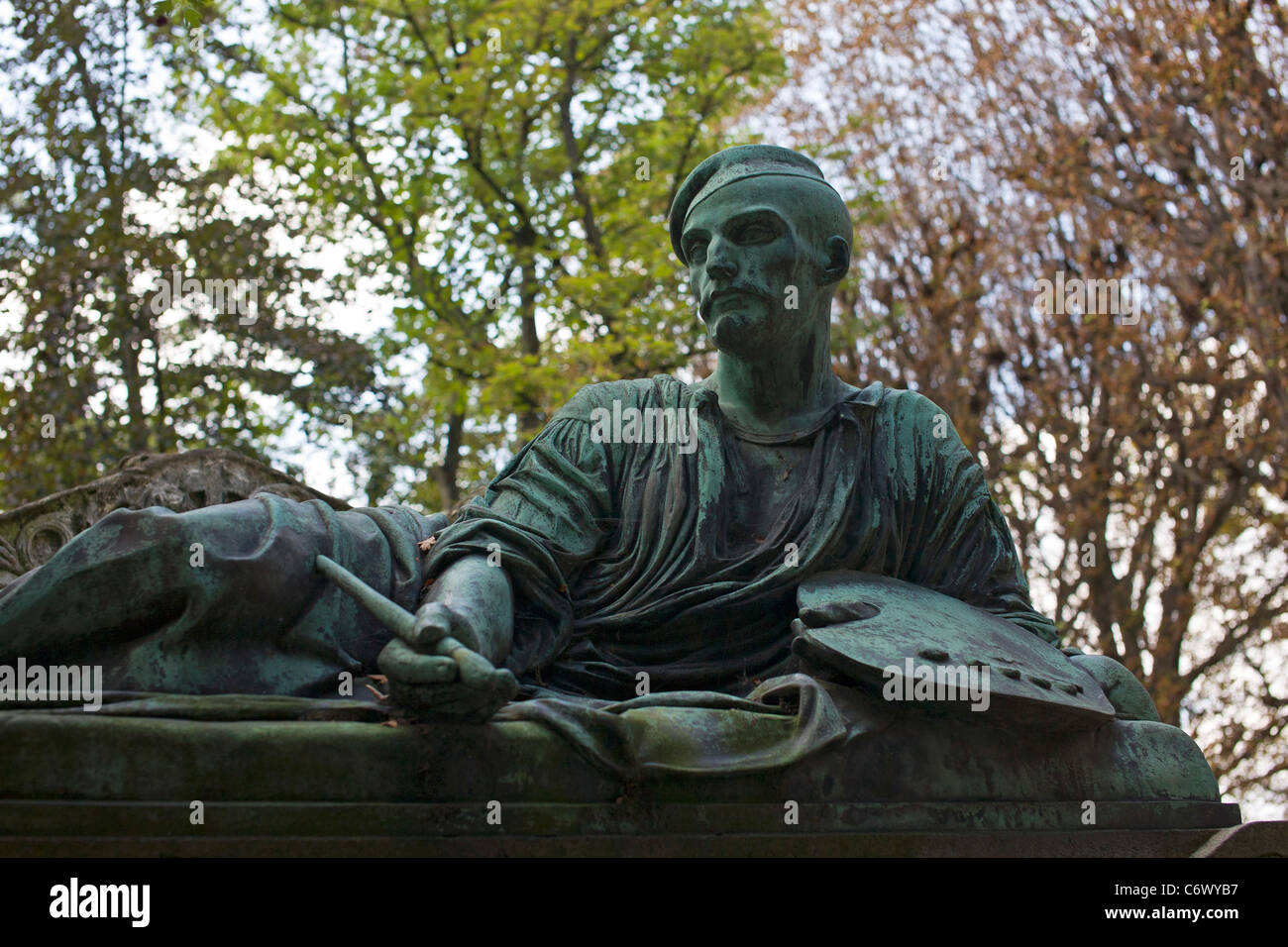 Grave of Gericault at the Pere Lachaise Cemetery Paris France - Stock Image
