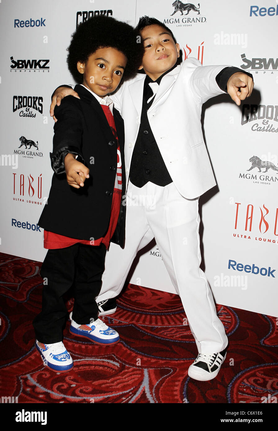 Baby Boogaloo and Bailrok The world famous dance crew Jabbawockeez present Mus.I.C. at MGM Grand Resort Casino. - Stock Image