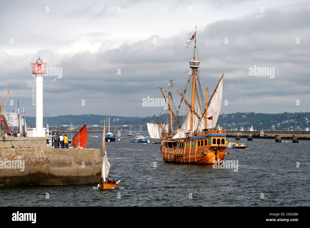 Matthew : caravel, replica (Bristol, UK), Brest maritime festival (Finistère, Brittany, France). - Stock Image
