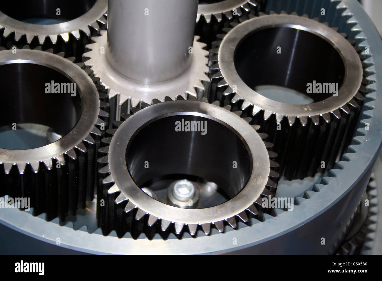 Close up of Reduction Gears for piston engine - Stock Image