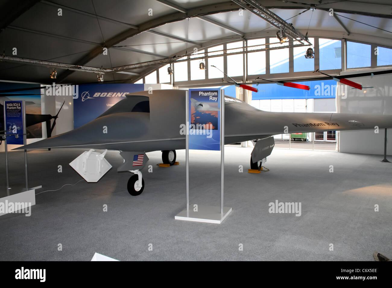 Boeing Phantom Ray UAV at the Farnborough International Airshow - Stock Image