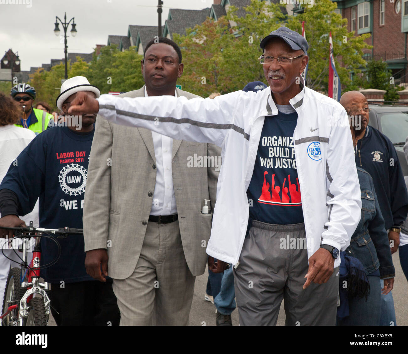Detroit, Michigan - Detroit Mayor Dave Bing marches in the Labor Day parade. - Stock Image