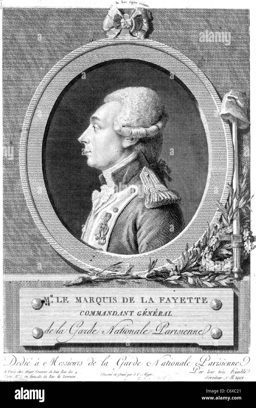 MARQUIS de la FAYETTE (1757-1834) French aristocrat and soldier - Stock Image