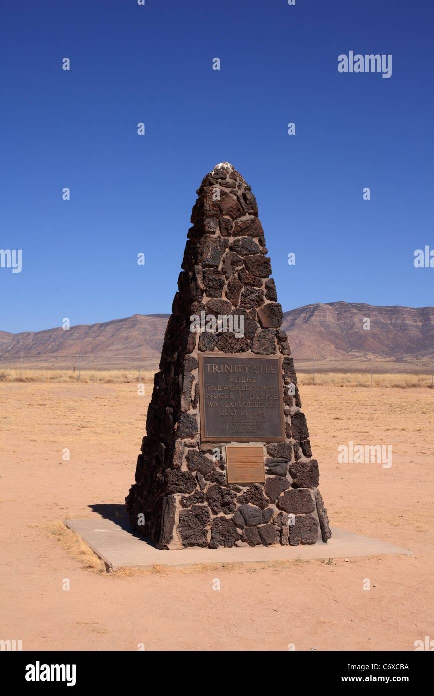 A plaque and obelisk mark Trinity Site, the remote spot in