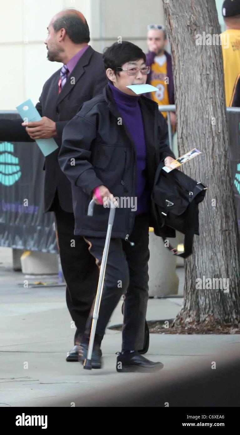 Tiger Woods mother, Kultida Punsawad arriving at the Staples