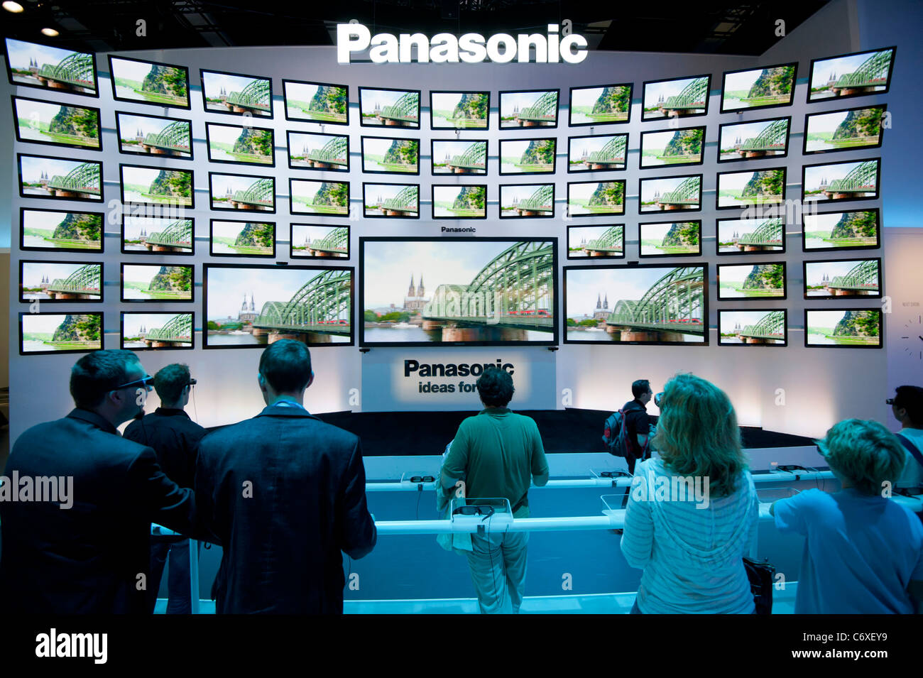 Panasonic stand with many 3D television screens at IFA consumer electronics trade fair in Berlin Germany 2011 - Stock Image