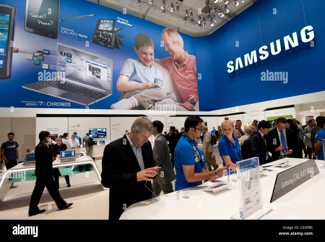 Samsung display stand at IFA consumer electronics trade fair in Berlin Germany 2011 - Stock Image