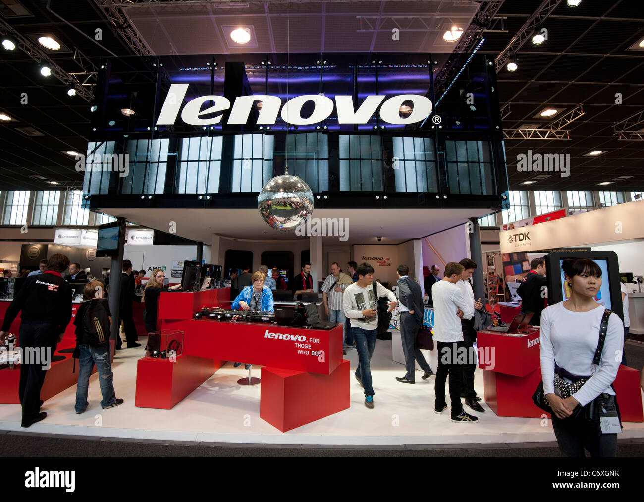 Lenovo syand at IFA consumer electronics trade fair in Berlin Germany 2011 - Stock Image